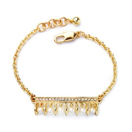 Women's Gold Plated Crystal Diamante Pearl Bracelet