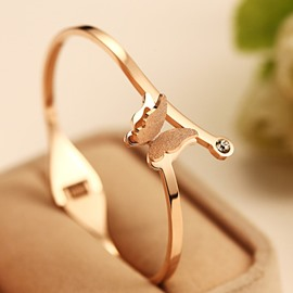 Women' s Rose Gold-Color Titanium Steel Butterfly Bangle