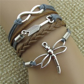 Women' s Fashion Dragonfly and Arrow Decoration Wrap Bracelet
