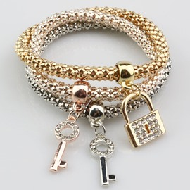 Pretty Multi-Layers Shining Key and Lock Design Wrap Bracelet