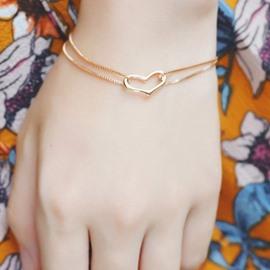 Amazing Double Layers Heart Design Alloy Bracelet