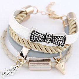 Women's Rivit Metal Bowknot Wrap Bracelet