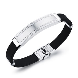 Men' s Fashion Silicon and Titamium Steel Bracelet