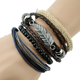 Feather Design Knitting Leather Bracelet Sets