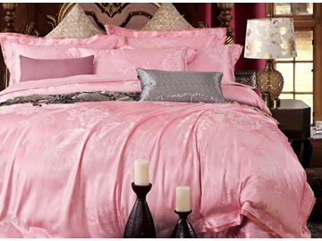 Pink Graceful Big Flowers 4-Piece Jacquard Bamboo Fabric Bedding Set