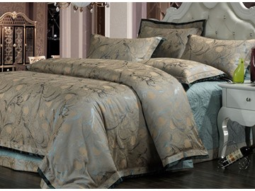 Dark Green Graceful 4-Piece Jacquard Bamboo Fabric Bedding Set