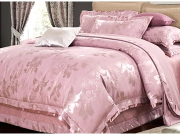 Elegant Dove Grey Lily Jacquard 4-Piece Bamboo Fabric Bedding Set
