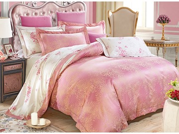 Floral Pattern Pink Jacquard 4-Piece Bamboo Fabric Bedding Set