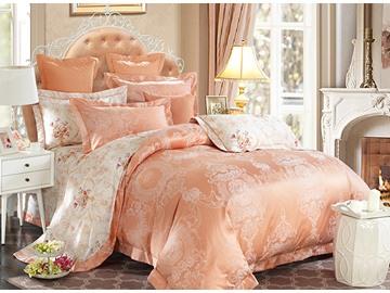 Noble Courtly Style Orange Jacquard 4-Piece Bamboo Fabric Bedding Set