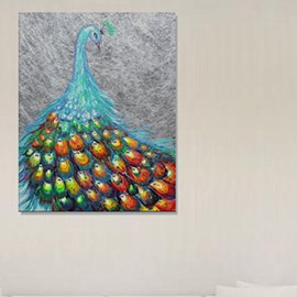 68 Beautiful Peacock In Field 1 Panel Wall Art Print