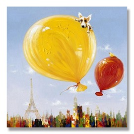 Hand Painted Cute Dog and Ballon Oil Painting Wall Art Prints