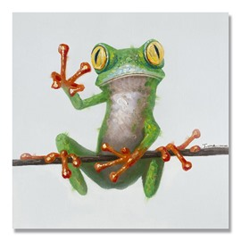 24×24in Frog Hanging Canvas Waterproof and Eco-friendly 1 Piece Oil Painting