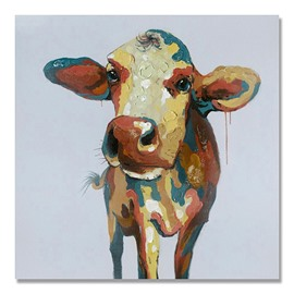 Amazing Cool Color Pop Art Cute Cow Oil Painting