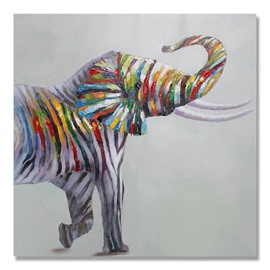 New Arrival Zebra Patterned Elephant Pop Art Oil Painting