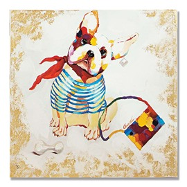 Modern Abstract Fashion Dog Hand Painted Oil Painting