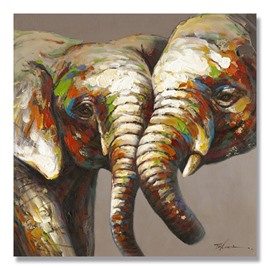 New Arrival Realism Two Beautiful Elephant Oil Painting