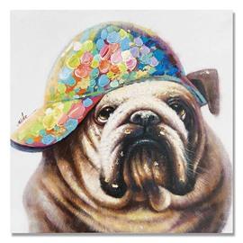 New Arrival Pop Art Cute BullDog Oil Painting