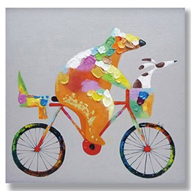 Modern Abstract Cute Bicycling Bear Oil Painting