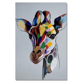 Wonderful Pop Art Ready to Hang Giraffe Style Oil Painting