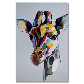 Wonderful Pop Art Ready to Hang Giraffe Style Oil Painting