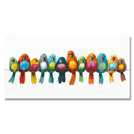 Beautiful Pop Art Birds Ready to Hang Hand Painted Oil Painting without wooden frame