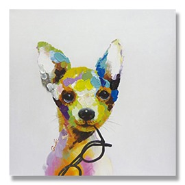 New Arrival Modern Dog with Glasses Hand Painted Oil Painting