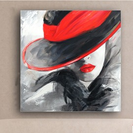 Pretty Girl and Red Hat Oil Painting Wall Art Print