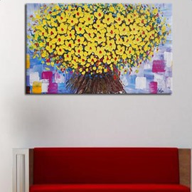 Delicate Rectangle Handmade Flower Pattern Canvas Home Decorative Oil Painting