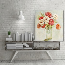 Flower Vase on Desktop Pattern for Wall Decoration None Framed Oil Painting