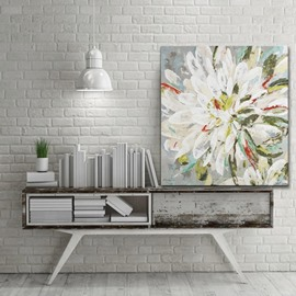 White and Green Flower Petals None Framed Wall Decorative Oil Painting