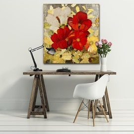 Wonderful Square Red Flowers Pattern None Framed Decorative Oil Painting
