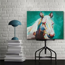 Modern Design White Horse with Green Background None Framed Oil Painting