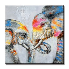 Lovely Modern Design Two Elephants Pattern Home Decorative Ready to Hang Oil Painting