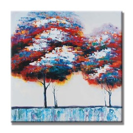 Two Natural Colorful Trees Pattern Canvas Stretched None Framed Oil Painting