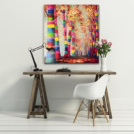 Autumn Tree on Both Sides of Road Colorful and Creative Canvas Stretched Oil Painting