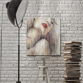 Red Lips Girl Pattern Attractive Home Decorative None Framed Oil Painting