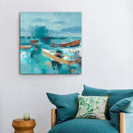 Boat on Blue Sea Impressionism Style Wall Decorative None Framed Oil Painting