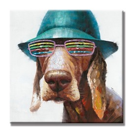 Cute Dog with Glasses and Hat Canvas Stretched None Framed Oil Painting