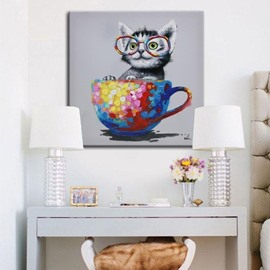 Lovely Cute Cat in Cup Pattern Decorative None Framed Oil Painting