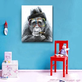 Funny Smoking Monkey with Glasses Canvas Stretched None Frame Oil Painting