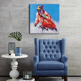Creative Design Skiing Dog Pattern Home Decorative Oil Painting