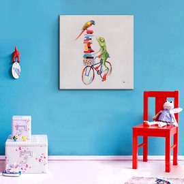 Amusing Anthropocentric Frog Ride a Bike None Framed Oil Painting