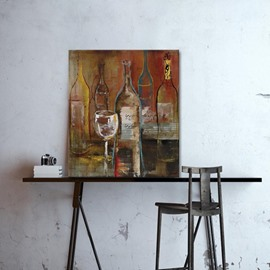 Realism Modern Wine Bottle and Glasses Pattern None Framed Oil Painting
