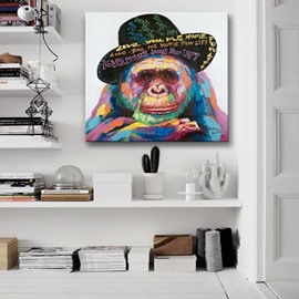 Amazing Decorative Orangutan with a Hat Pattern None Framed Oil Painting