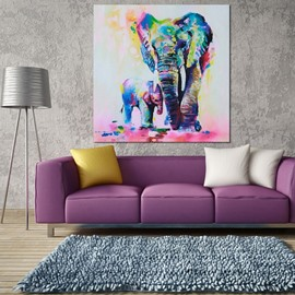 Amazing Decorative Colored Elephant Framed Oil Painting