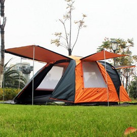 3-4 Person One Bedroom Waterproof and Windproof Double Layers Fiberglass Skeleton Tent