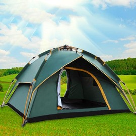 3-4 Person Dark Green Polyester Waterproof One Bedroom Tent