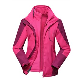 Colorful Outdoor Couples Waterproof and Windproof Camping and Hiking Sportswear Hooded Jacket