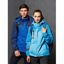 Female Color Block Outdoor Waterproof and Windproof 3 in 1 Fleece Lining Hiking Jacket
