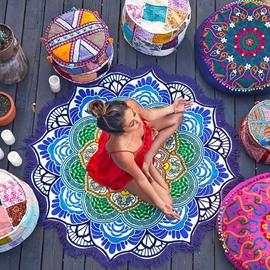 Vintage Indian Mandala Style Round Beach Throw Mat